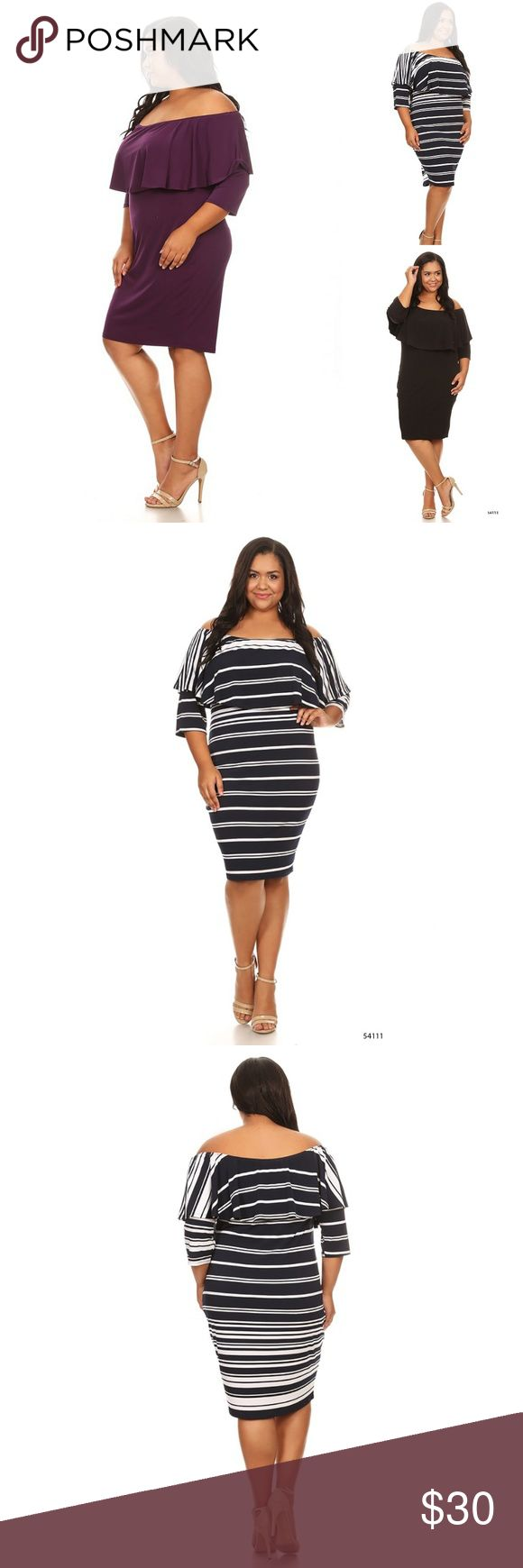 """Plus Striped Curvy Ruffle Strapless Midi Dress Plus Size Black Ruffle Women's Midi Dress Casual Women's plus size dress featuring a ruffle accent and soft stretchy material.  Material is 94% polyester and 6% spandex  Approx. Measures 4XL Bust 25"""", Waist 23"""", Hips 28"""" 5XL Bust 26"""", Waist 24"""", Hips 29"""" 4XL Bust 27"""", Waist 25"""", Hips 30""""  Strapless midi dress, perfect for casual day or night out Dresses Midi"""