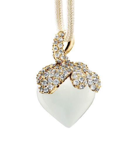 Ole Lynggaard Copenhagen Dew Drop charm (large) White Moonstonel faceted with diamonds = 0.75ct pave set in 18ct yellow gold including beige silk string - Kennedy Jewellers