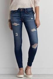 AEO Jegging (Jeans), Women's, Size: 6 Short, Bright Indigo Destroyed