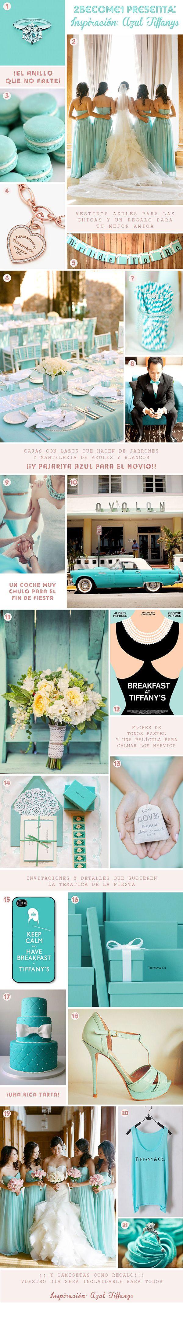 Blue Tiffany's Wedding Inspiration  http://2become1studio.blogspot.com.es/2014/05/inspiracion-bodas-azul-tiffanys.html