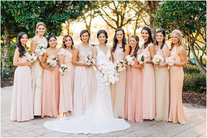 Ritz Carlton Wedding Orlando Blush & Champagne Mix Match Dresses