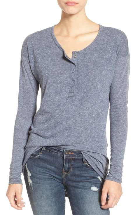 Volcom 'Lived In' Heathered Henley Top