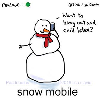 Snow mobile #peadoodles #mobile #mobilephone #phone #chill #snowman #snow #pun #punny