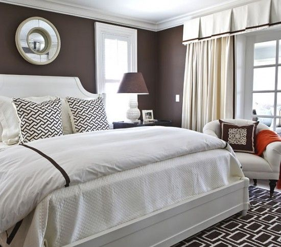 dark brown chocolate bedroom with white trim black and white