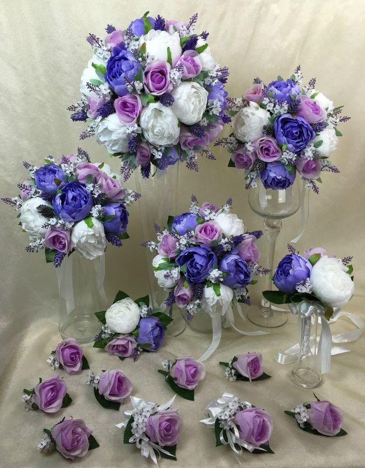 Artificial Silk Purple Roses Peonies Lavender White Peonie Wedding Bouquet Set