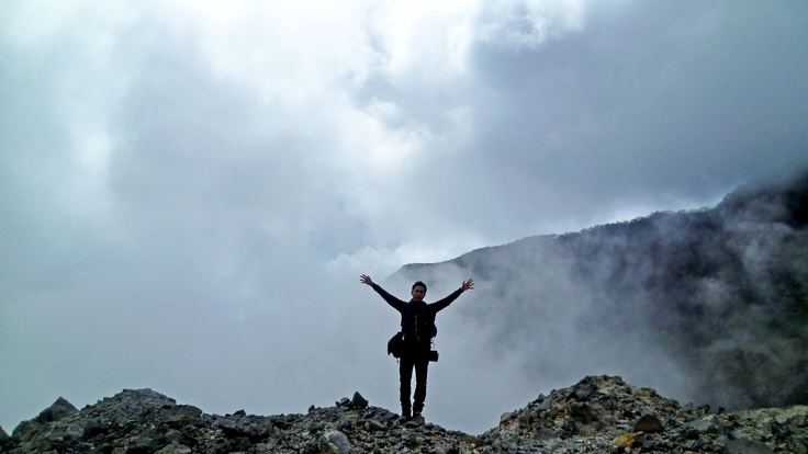 On the edge of Papandayan Volcano crater, West Java, Indonesia