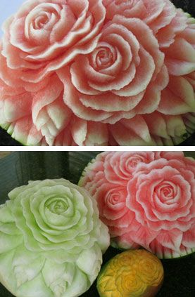 Roses made out of watermelon, honeydew melon and cantaloupe. Wow!