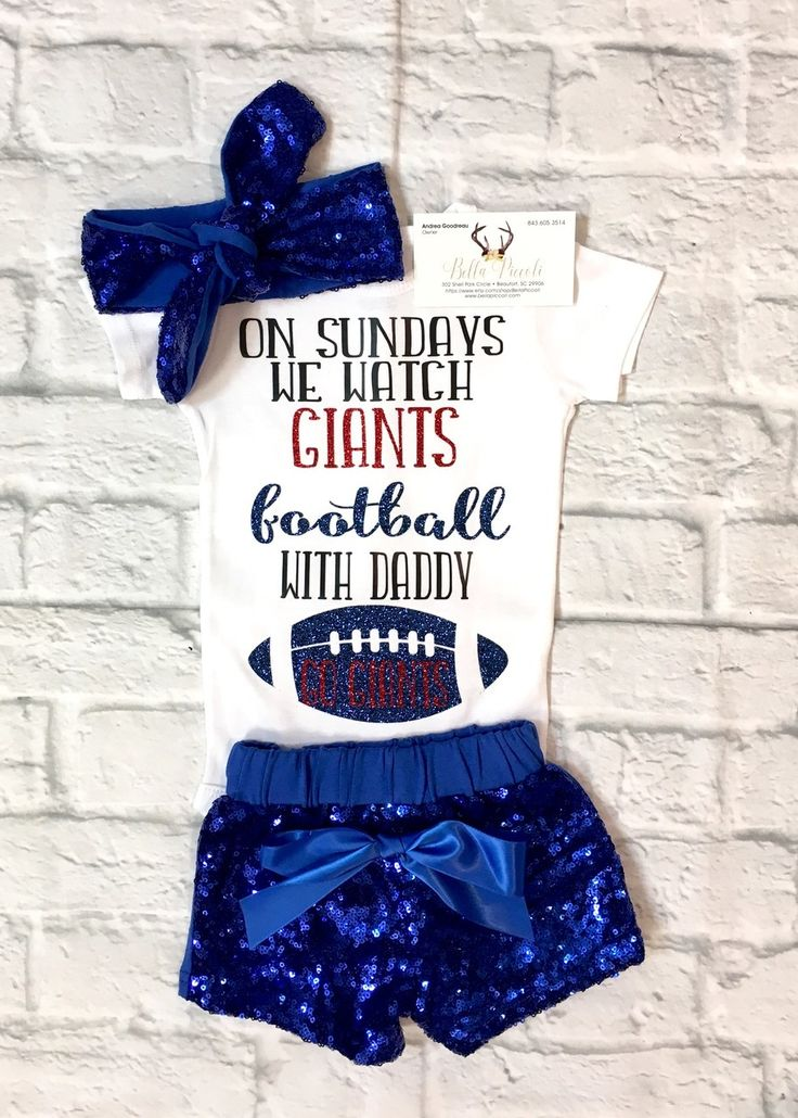Baby Girl Clothes, New York Giants Onesie, Baby Girl New York Giants Bodysuit, On Sunday we watch Giants Football With Daddy Bodysuit, Giants Onesies, New York Giants Baby Clothes, New York Giants Bodysuits - BellaPiccoli