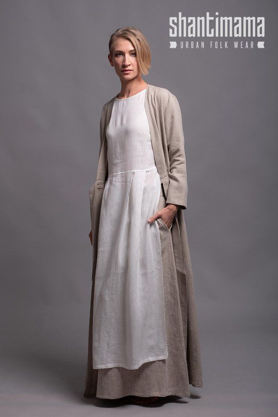 Outfit - 3 pieces - pure linen- Long Jacket HENK + Long Skirt AIRA + Tunic  Dress NERO 0c8adfa4b