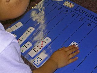 Here's an activity where the kids sort dominoes by the number of dots. Very easy to put together!