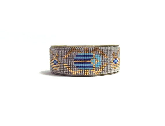 Scarab bracelet Tribal bead loom bracelet by distinguishedjewelry