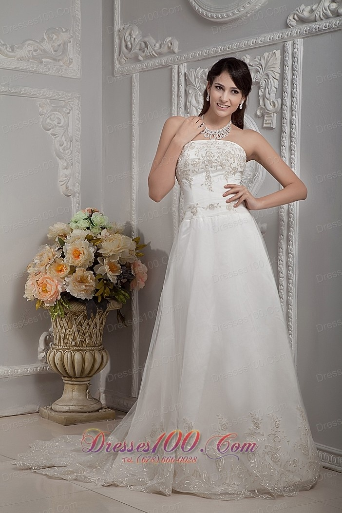 Trending Classic Ivory Satin Embroidery Strapless A line Wedding Dress Wedding Dresses Wedding