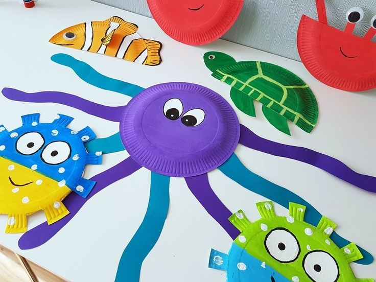 Underwater World Decoration: Paper plates Fish & sea creations tinker