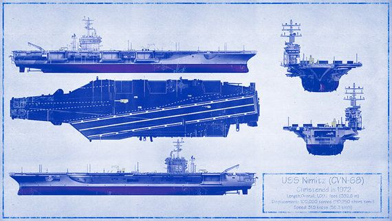 Uss Nimitz Cvn 68 Blueprint High Quality Print 30 Quot X17
