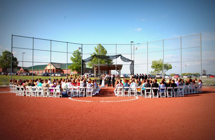 baseball field wedding view from center field