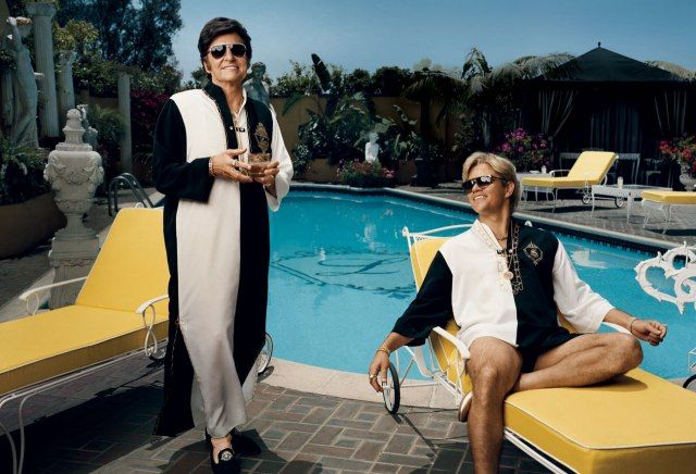 Michael Douglas and Matt Damon in costume as Liberace and chauffeur, bodyguard, secretary, and palimony plaintiff Scott Thorson, photographed on the set of Behind the Candelabra in Los Angeles.