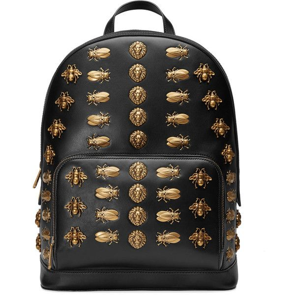 Gucci Animal studs leather backpack ($3,490) ❤ liked on Polyvore featuring bags, backpacks, black, gucci bags, leather rucksack, padded backpack, butterfly backpack and studded leather backpack