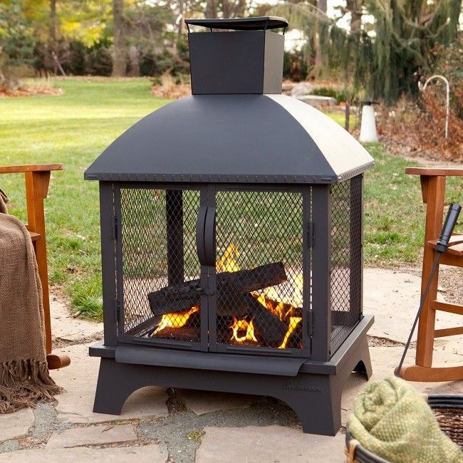 outdoor fireplace patio backyard fire pit wood burning heater rh pinterest com