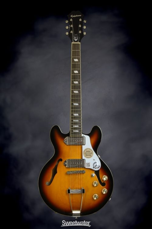 Epiphone Casino Coupe - Vintage Sunburst | Sweetwater.com | Hollowbody Electric Guitar with Maple Body, Mahogany Neck, Rosewood Fingerboard, and Dual Single-coil Pickups - Vintage Sunburst