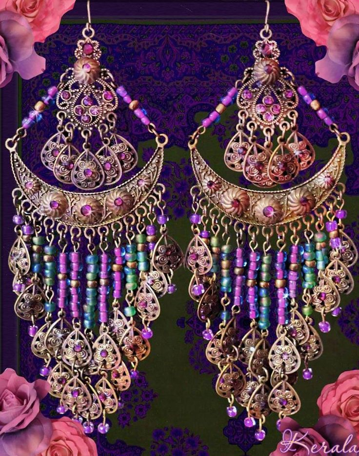 Large Exotic Bohemian Gypsy Chandelier Earrings, Love these
