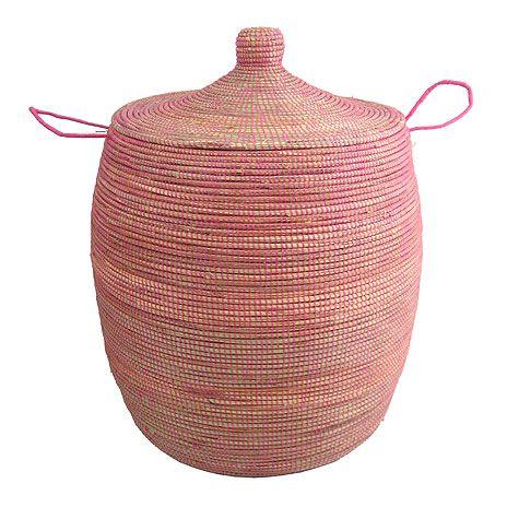 Rosa Tvättkorg med lock - Förvara Tvätten Snyggt,  Enkelt ochSmidigt (Afroart)