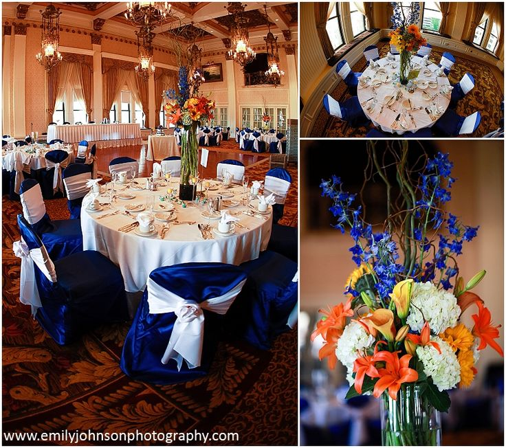 orange wedding decorations reception royal blue chair covers with white sash yellow 6282