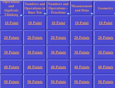 FREE 3rd Grade Math Common Core Jeopardy!!