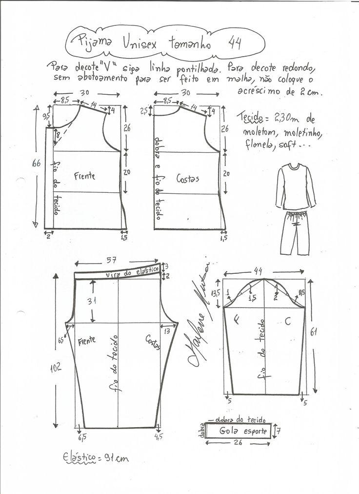 Patrón para hacer un pijama unisex, osea que sirve tanto para hombre como para mujer. Para hacer el pijama se puede utilizar tanto algodón como franela o similar. Tallas desde la 36 hasta 56, para …