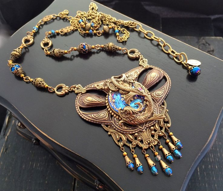 Koi Fish Necklace, Gothic Fantasy Koi Jewelry, Art Nouveau Statement Necklace, Bohemian Glass Button Necklace, Vintage Style Pisces Fish by KarenTylerDesigns on Etsy