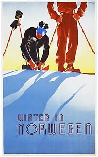 vintage ski poster - Winter in Norway  Designer:Schenk  c.1938
