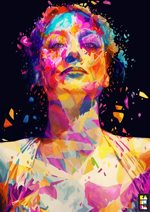illustration, portrait, colors, abstract colors, abstract, Joan Crawford