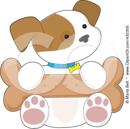 Royalty-Free (RF) Clipart Illustration of a Cute Puppy Sitting With A Big Bone In His Lap by Maria Bell