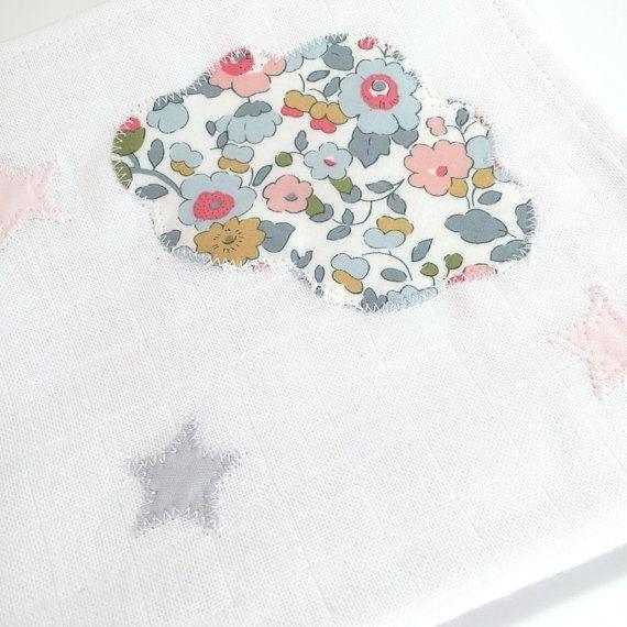 Lange coton nuage - 3 étoiles - liberty / gris / rose