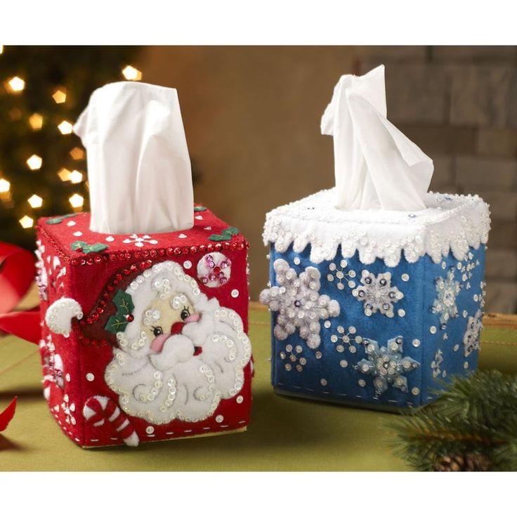 BUCILLA-Seasonal Tissue Box Covers Felt Applique Kit. Festive designs, quality materials and generous embellishments continue to make Bucilla felt kits a favorite stitchery tradition! This package con