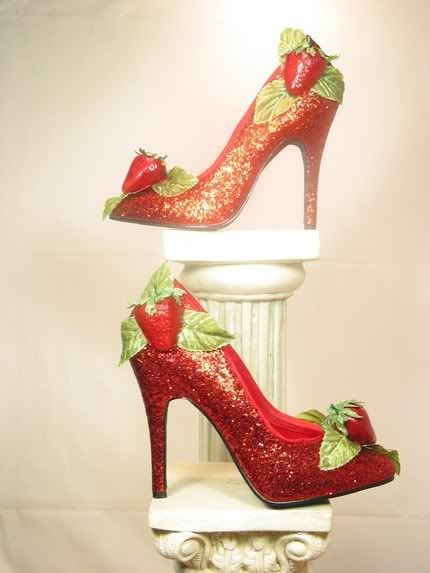 Yum! Strawberry Shoes..I wonder if my sister loving strawberries would like these?