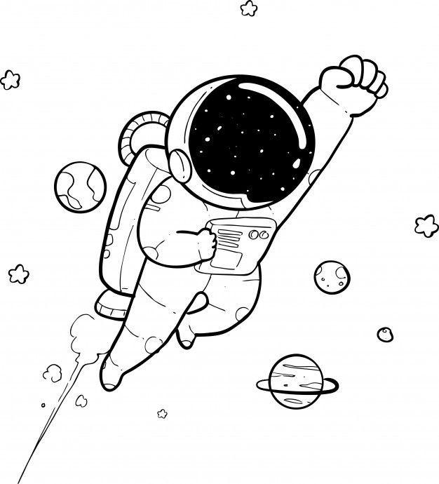 Happy astronaut doodle Premium Vector in 2020 | Space ...