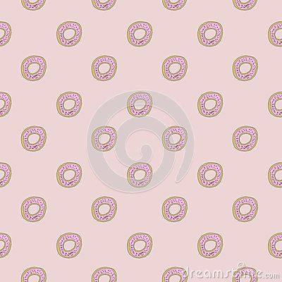 Cute donut doodles with seamles repeat pattern design royalty free stock image