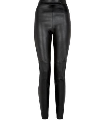 Black Leather-Look High Waisted Trousers