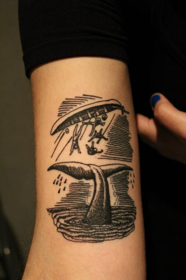 Whale Tail And Capsized Boat Woodcut Illustration Style