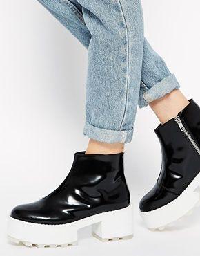 Увеличить Черно-белые ботинки с тракторной подошвой CheapMonday