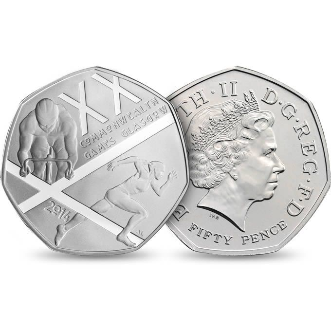 The Glasgow 2014 Commonwealth Games UK 50p Brilliant Uncirculated Coin - £10.00 http://www.royalmint.com/shop/The_Glasgow_2014_Commonwealth_Games_UK_50p_Brilliant_Uncirculated_Coin