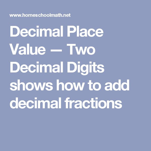 Decimal Place Value — Two Decimal Digits shows how to add decimal fractions
