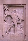 25 mei 2012: Investeren. Afbeelding: De Zaaier, art-deco bas-relief door Lee Lawrie op de Beaumont Tower van de Michigan State University.
