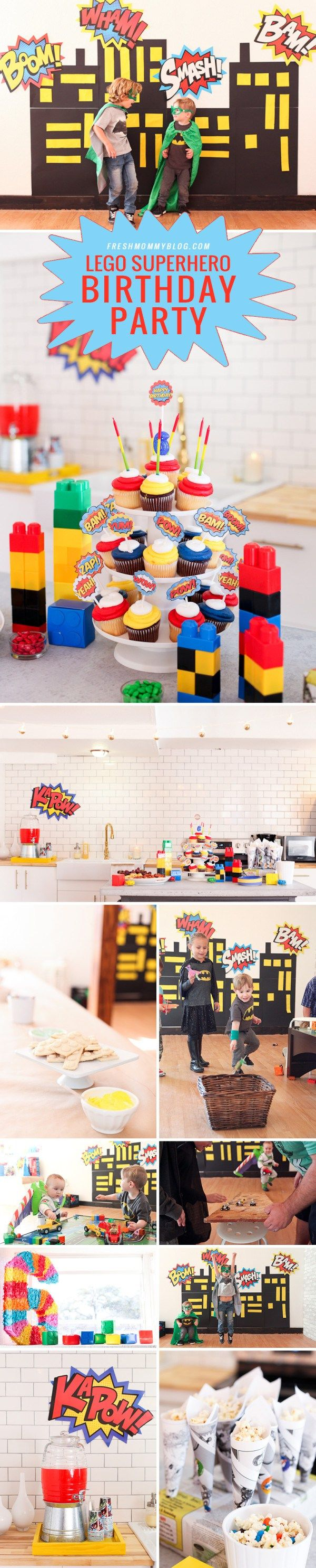 A bright and colorful Lego Superhero Birthday Party, with video games too! How to DIY this colorful and fun-filled birthday party, perfect for little boys... with lego car races, a superhero city backdrop, decorate your own lego sugar cookies and more superhero lego fun!!