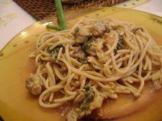 Receita de Macarrão integral com molho de carne com espinafre