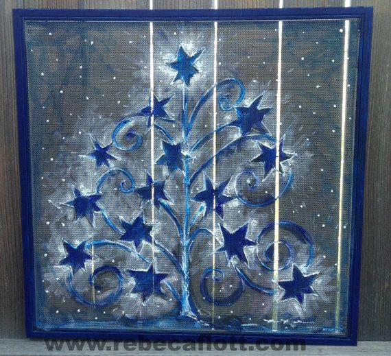 Recycle Old window Screen hand painting Blue by RebecaFlottArts