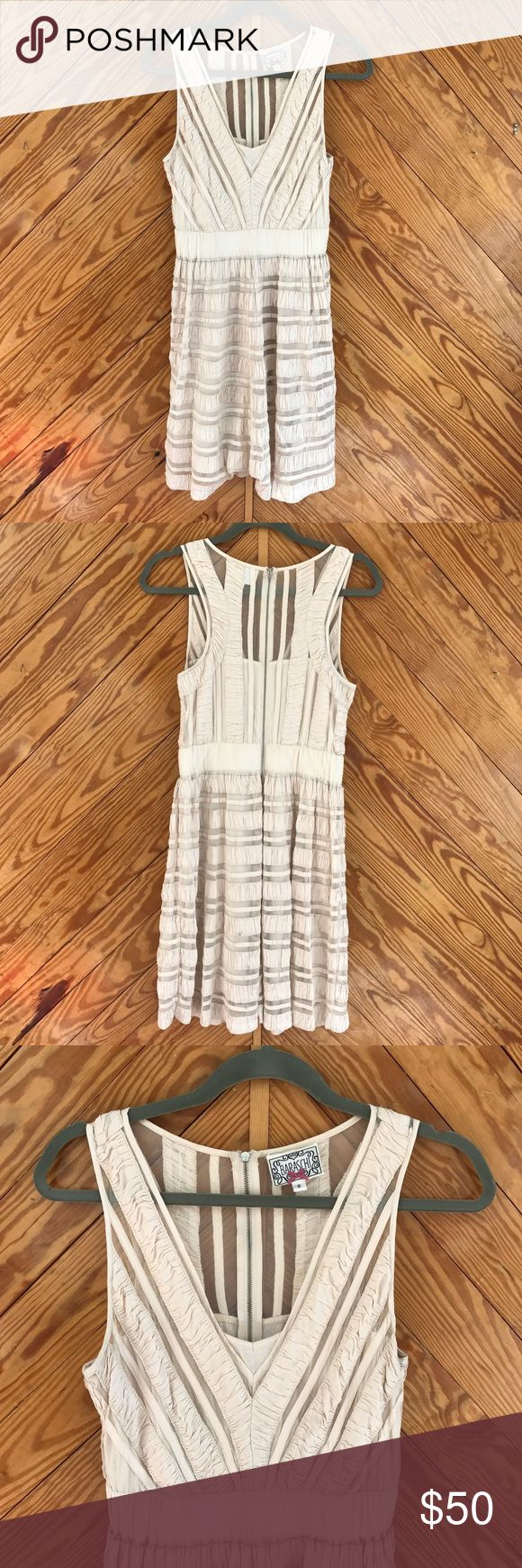 """Yoana Baraschi Deep V Sheer Cream Cocktail Dress Gently used condition with minimal wear and wash - one minor spot. elastic waistband. Exposed back zipper. Fully lined. Waist 13.5-15"""". Bust 15"""". D4 Yoana Baraschi Dresses"""
