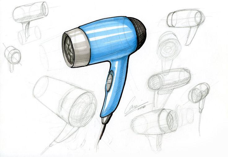 sketch, drawing, hairdryer