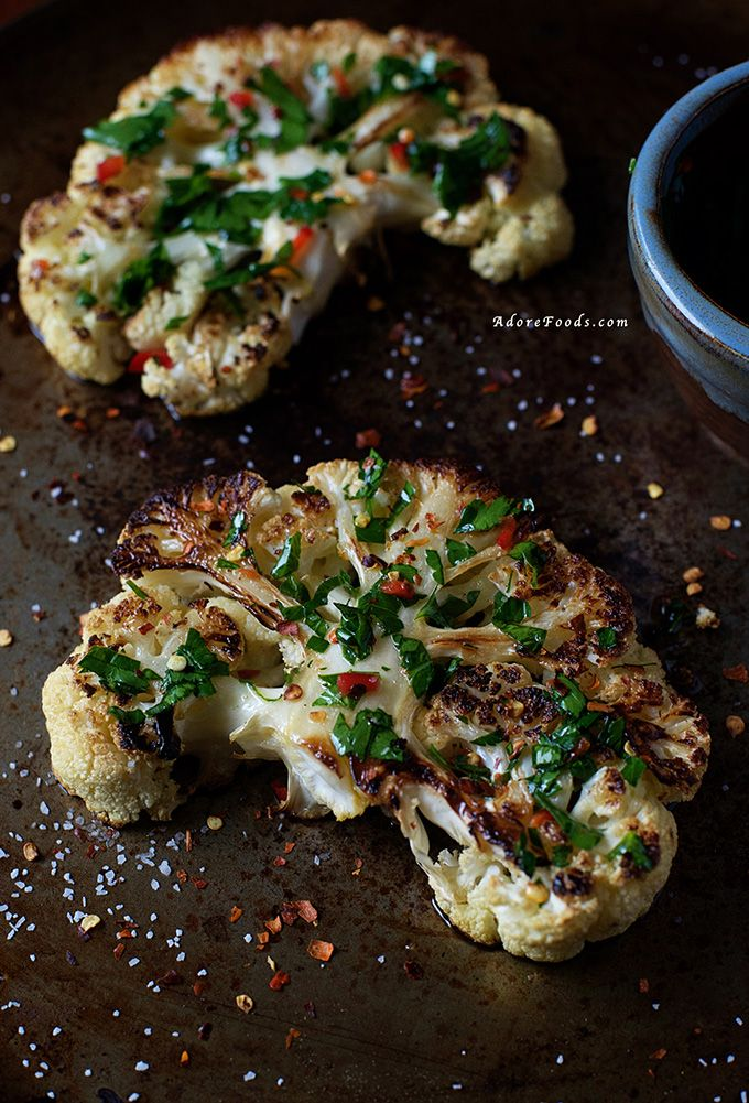 Chimichurri Cauliflower Steak. Crispy and caramelized around the edges, juicy towards the center…..just delicious!
