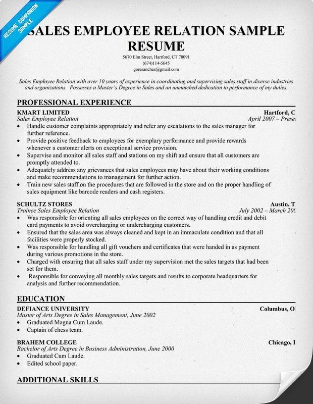 employee relations skills resume